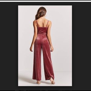930fd7f9f01 Forever 21 Pants - Forever 21 Velvet Belted Palazzo Jumpsuit in Mauve